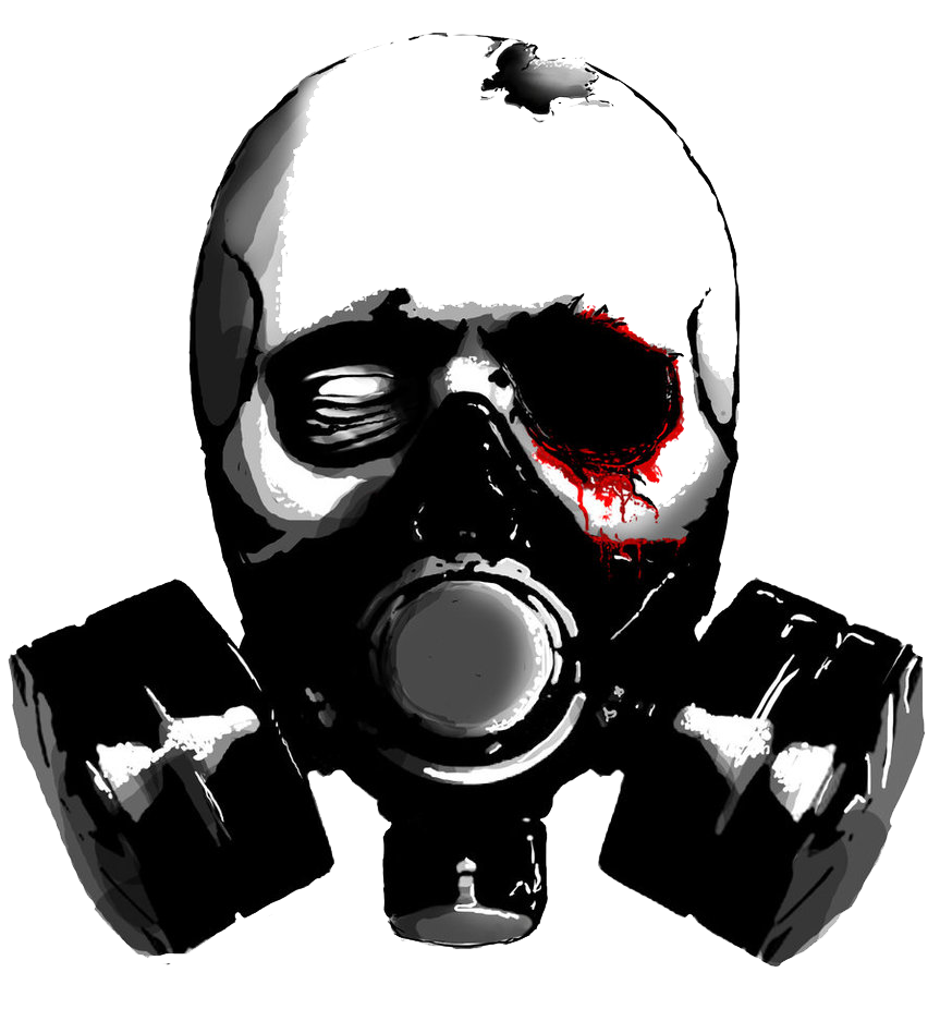 Skull with gas mask png. Stencil drawing pic transprent