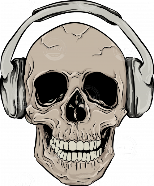 Skull with headphones png. Illustration price minty