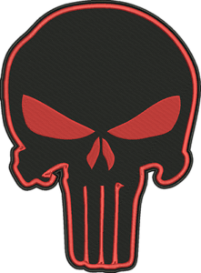 PUNISHER SKULL EMBROIDERED 12 INCH RED//BLK  MC BIKER PATCH