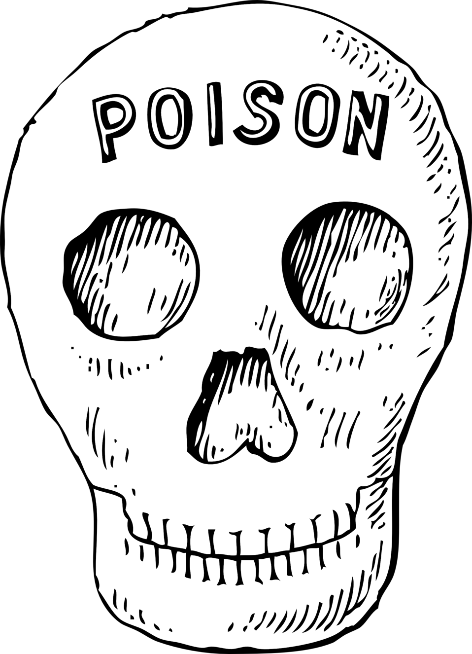 Skulls transparent poison. Public domain clip art