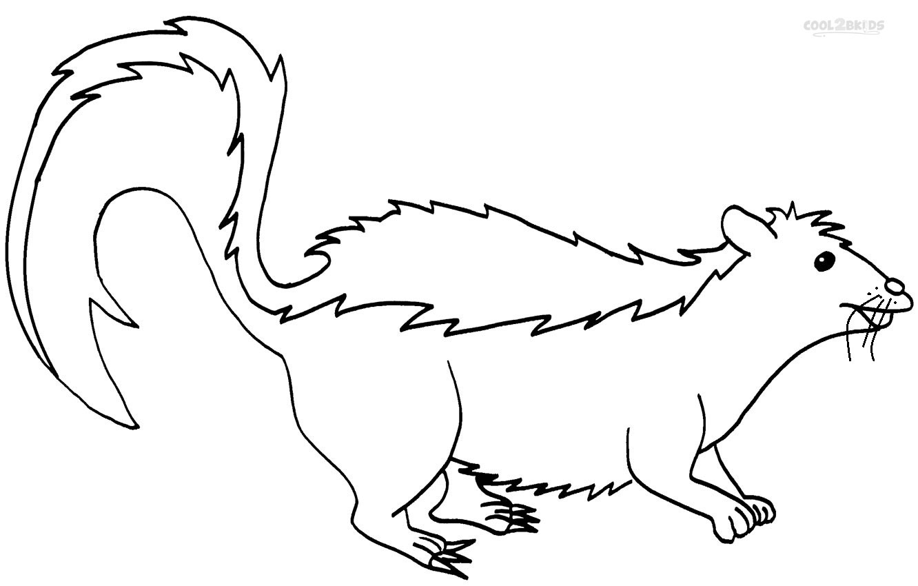 Skunk clipart printable. Coloring pages get download