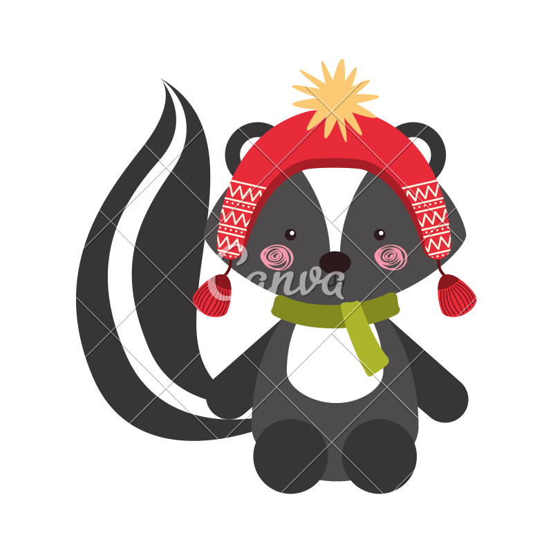Skunk vector female cartoon. Animal icons by canva