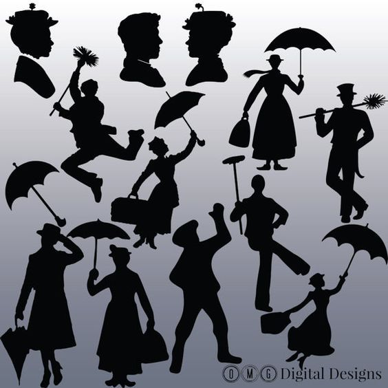 Skyline clipart mary poppins. Silhouette images design