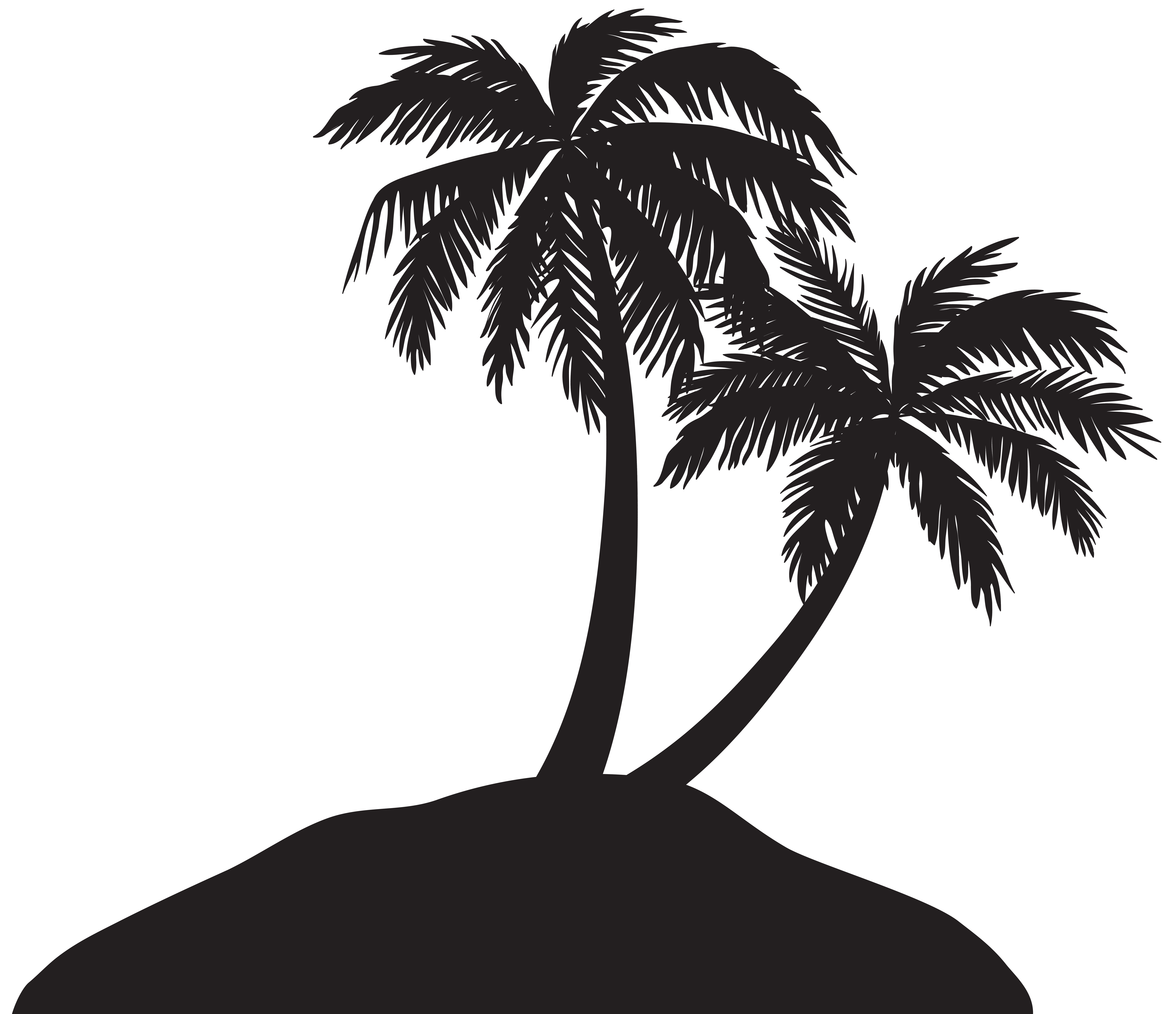 Palm leaf silhouette png. Island with trees clip