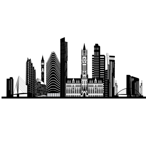 Manchester silhouette png svg. Skyline transparent svg black and white