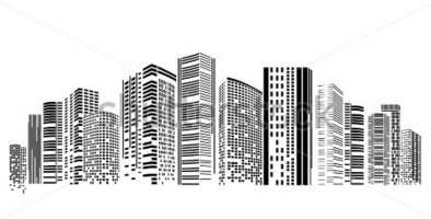 Skyscraper clipart architecture building. Png black and white