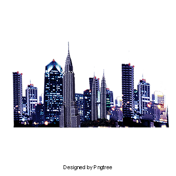 Waterfront night cityscape background. City building png clip art free