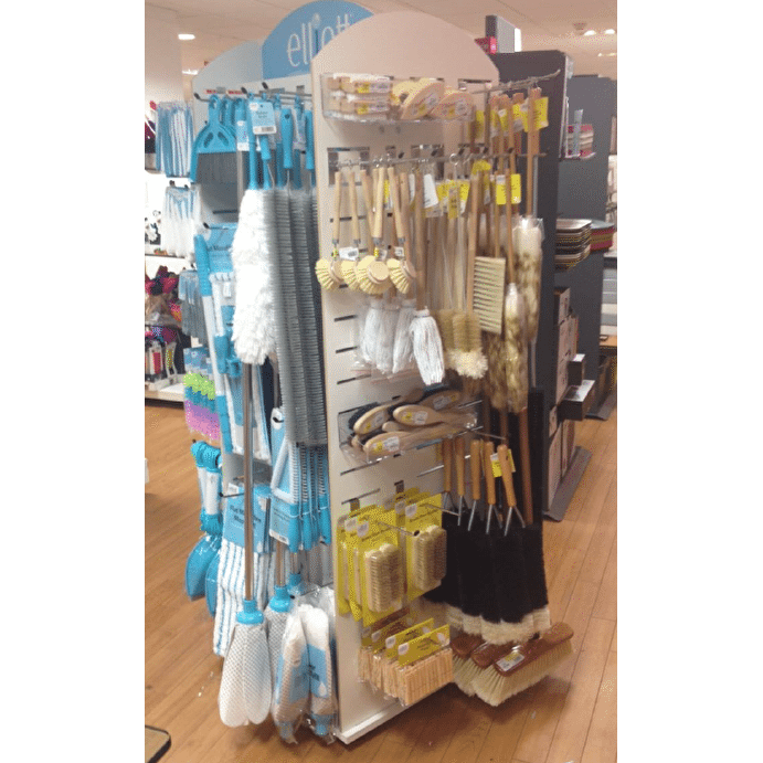 Slatwall clip display. Unit floor spinner with
