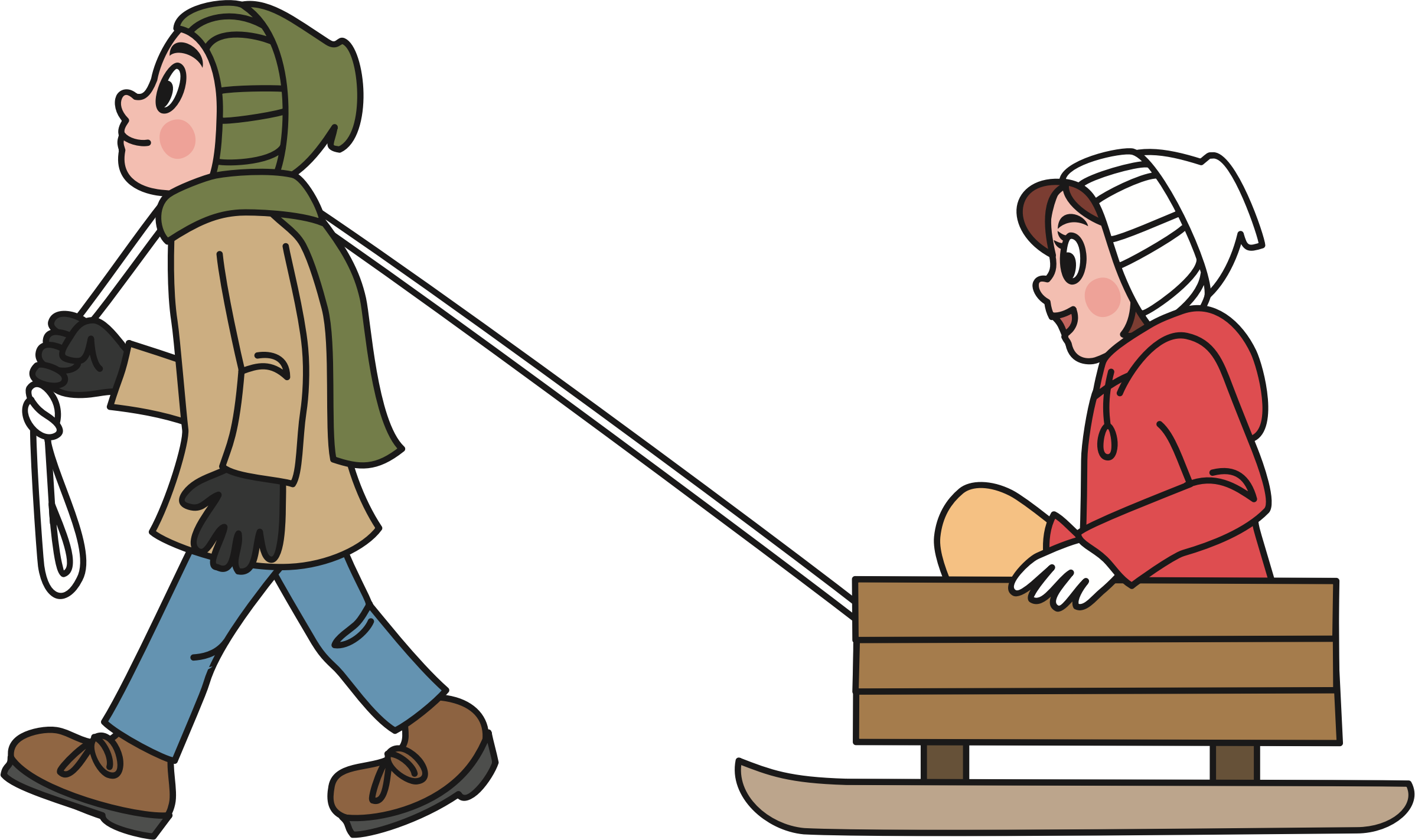 Pulling a big image. Sled clipart people graphic library library