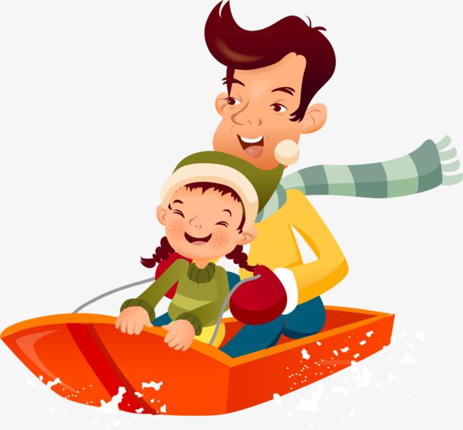 Sled clipart people. Parental snow fun game