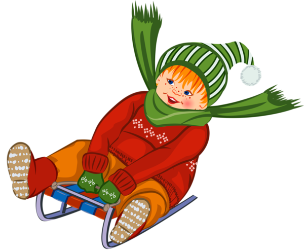 Sled clipart luge. Personnages zima children winter