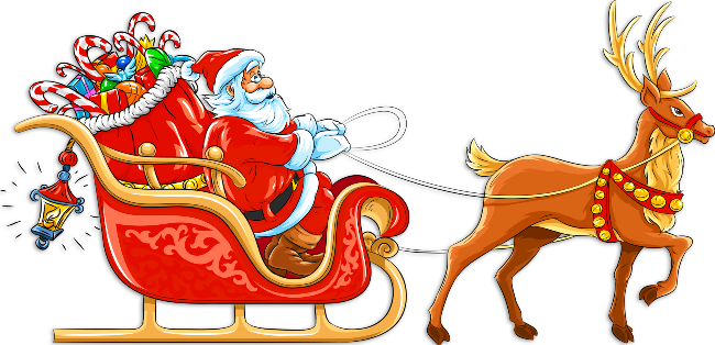 Santa claus sleigh png. Transparent with and deer