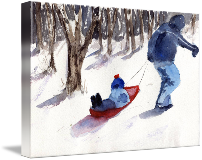 Sledding drawing children's. Snow scene father and