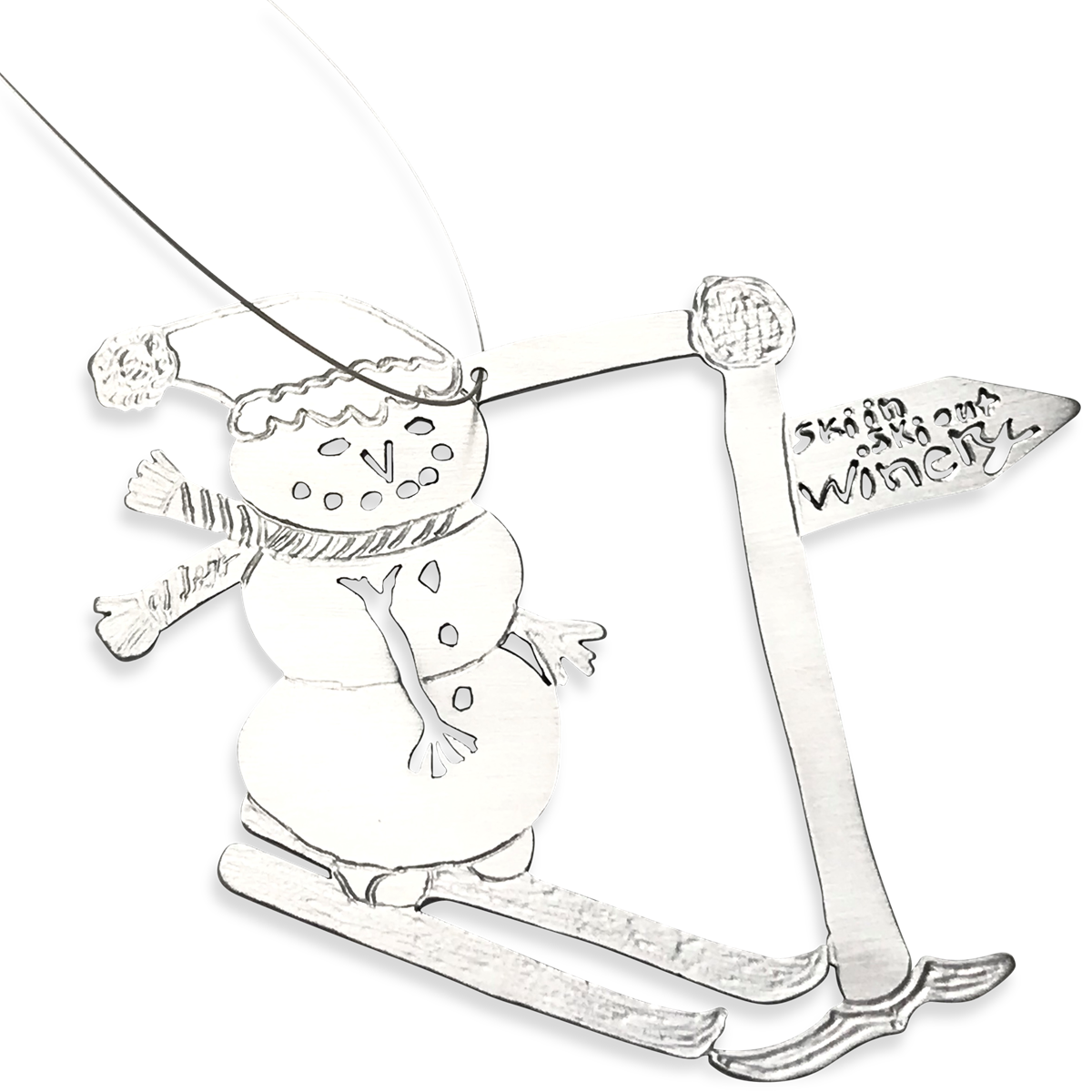 Sledding drawing handmade. Christmas ornament from your