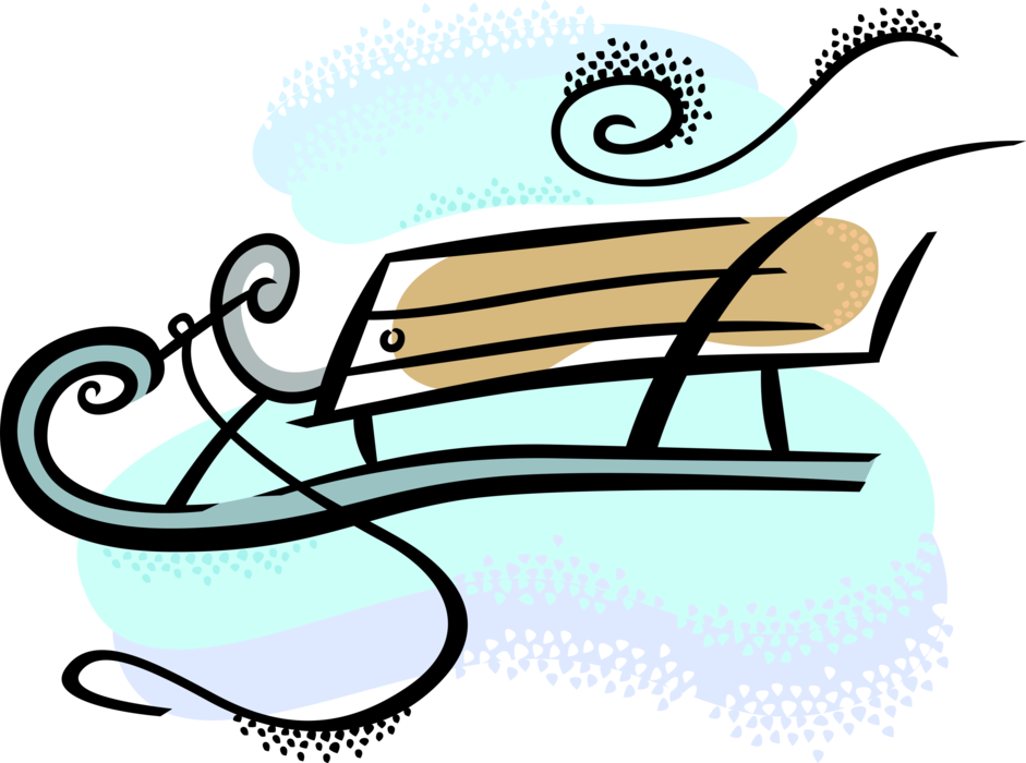 Sledding drawing snow sled. Banner freeuse library
