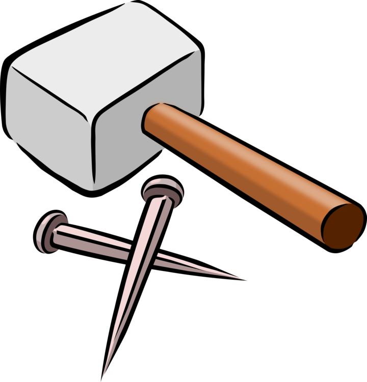 Carpenter vector hammer nail. Tool cartoon drawing free