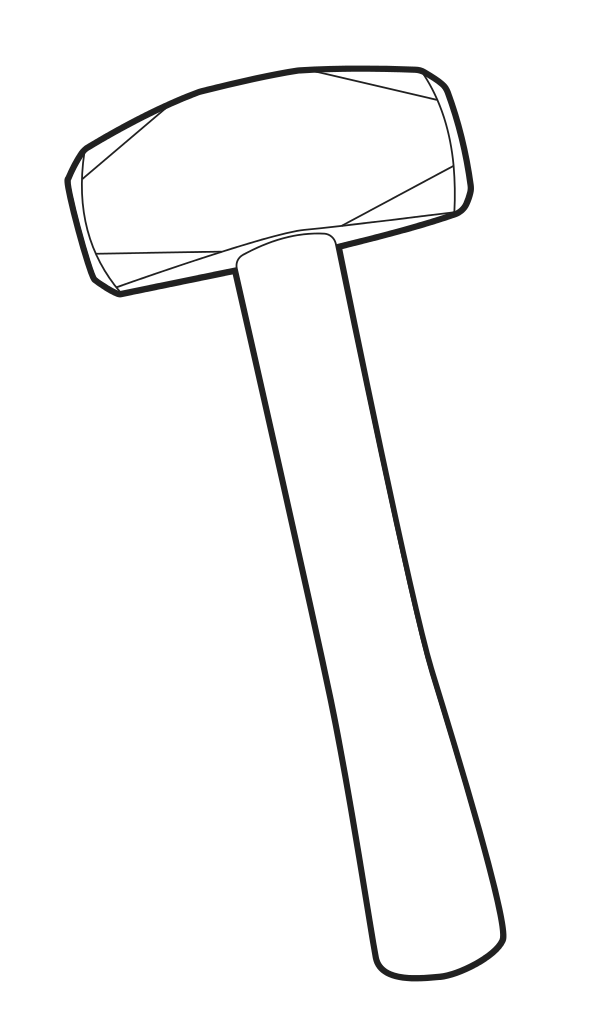 Sledgehammer drawing. File svg drilling hammer