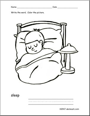 Sleep clipart action word. Coloring page write and