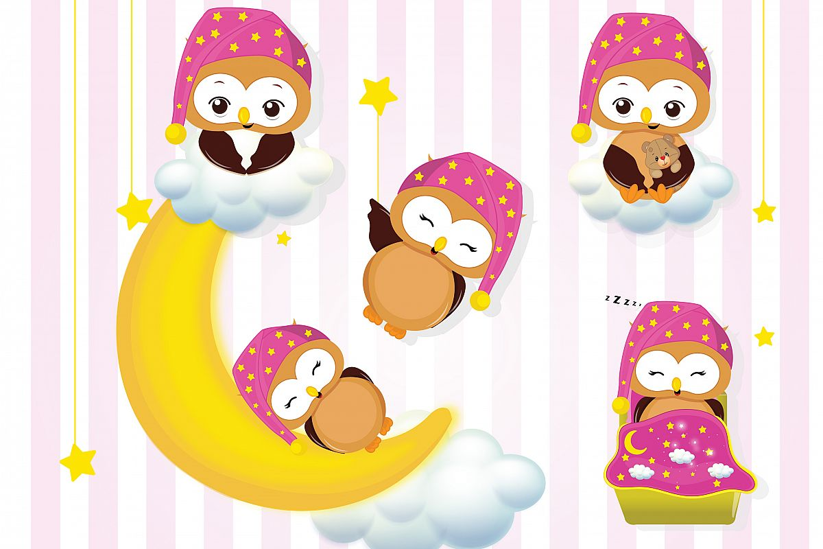 Sleepover clipart. Girl owls party graphics