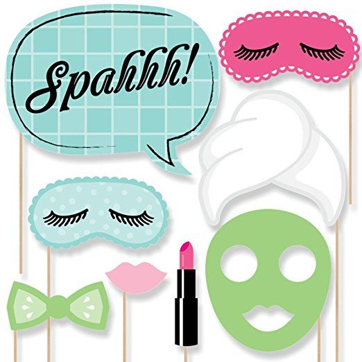 Sleepover clipart mask eye spa. Day photo booth props
