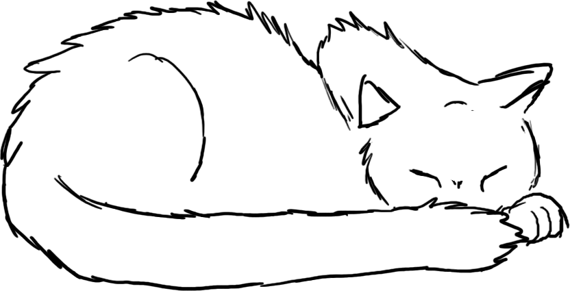 Sleepy drawing. Sleeping cat clipart best