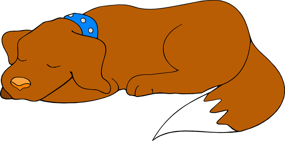 Sleepy drawing pug. Cartoon sleeping dog image