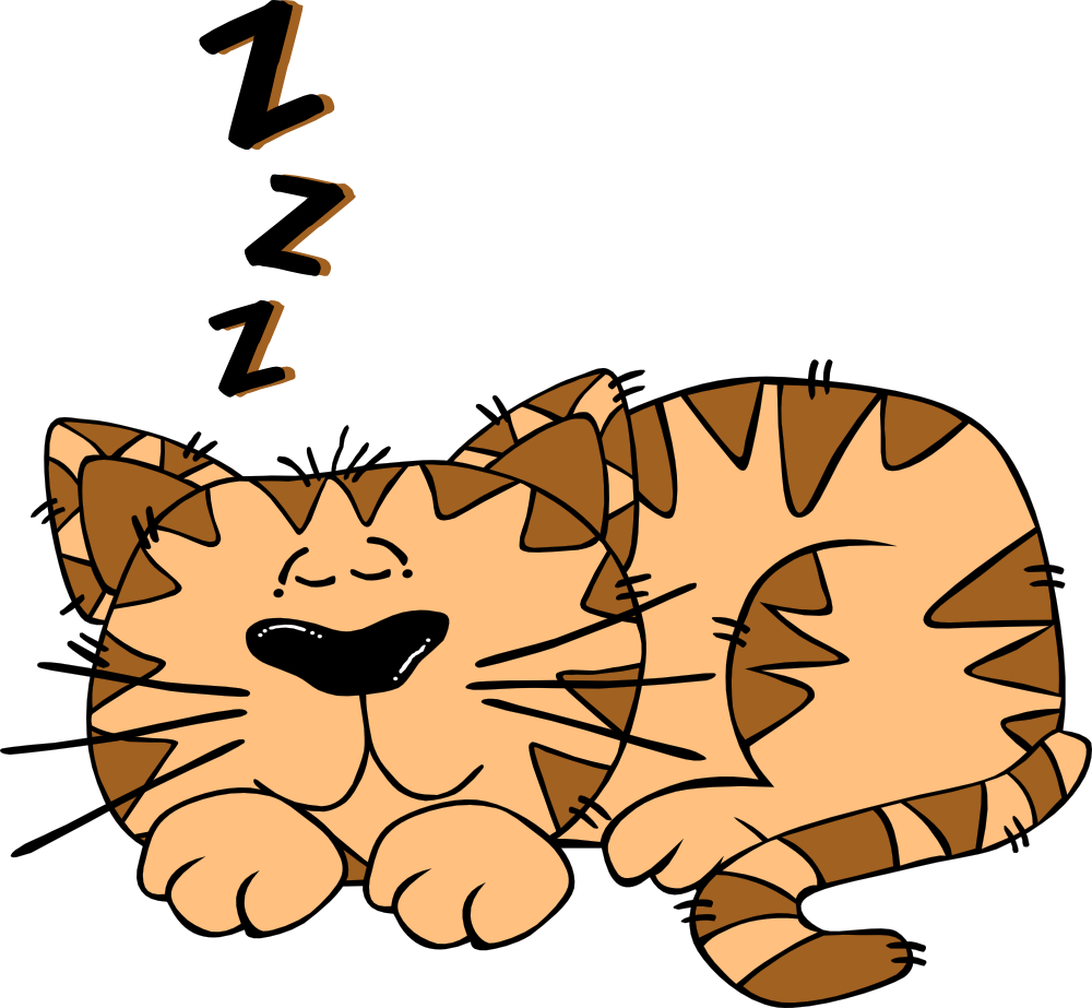 Sleepy drawing whimsical cat. Cartoon sleeping all about