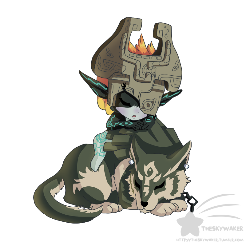 Midna drawing arm. Sleepy wolf link and