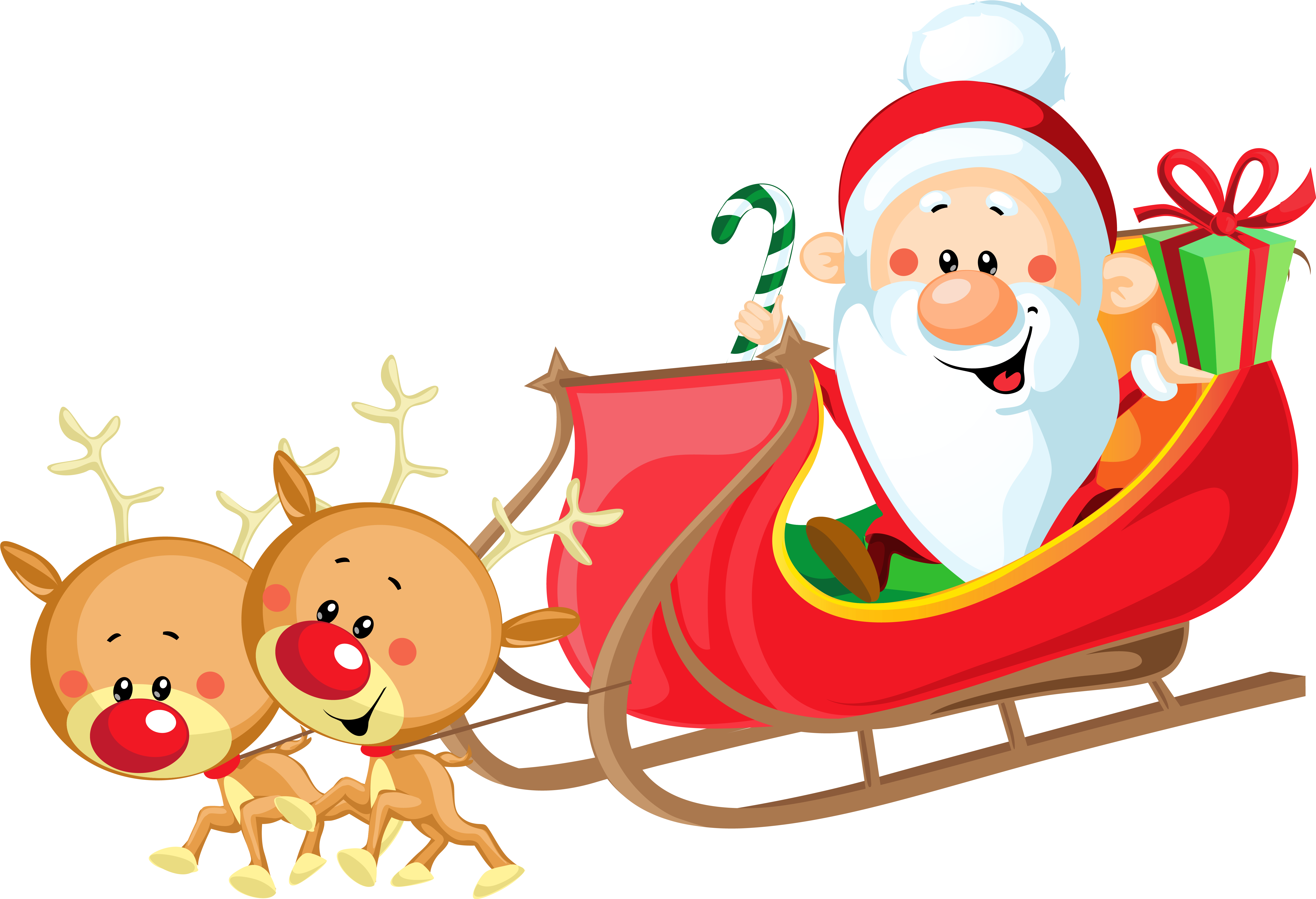Sled clipart people. Download cute santa with