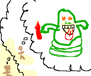 Kid thinking of with. Slimer drawing png royalty free