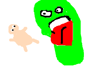 Slimer drawing baby. Tries to eat fat