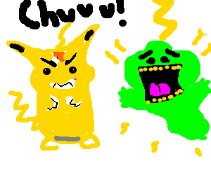 Slimer drawing happy. Angry pikachu beating the