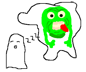 Ghost is dreaming of. Slimer drawing png black and white