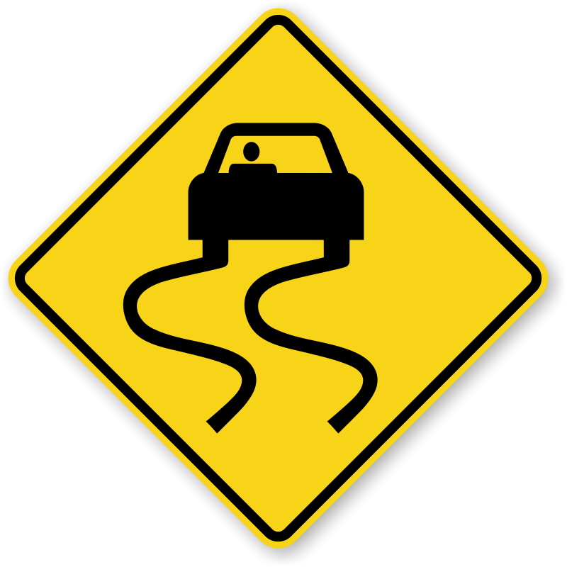 Traffic clipart dangerous driving. Slippery road signs icy