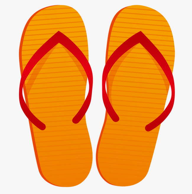 Slippers clipart. Hand painted orange flip banner black and white download
