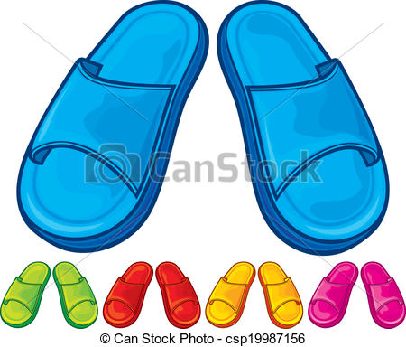Flip flops set vector. Slippers clipart clip freeuse