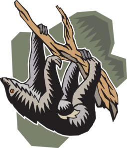 Sloth clipart. Stylized hanging clip art