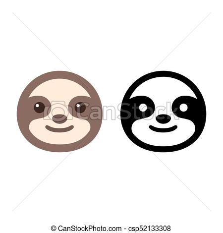 Face icon cute cartoon. Sloth clipart jpg black and white stock