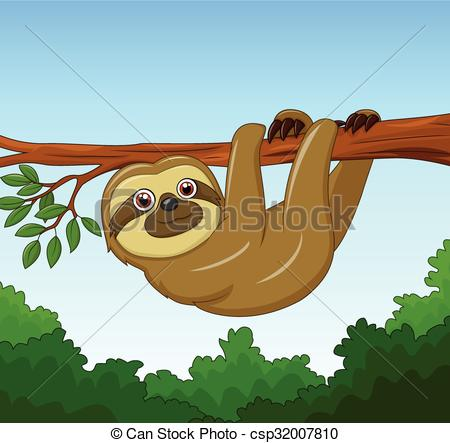 Sloth clipart hanging. Vector illustration of cartoon jpg royalty free