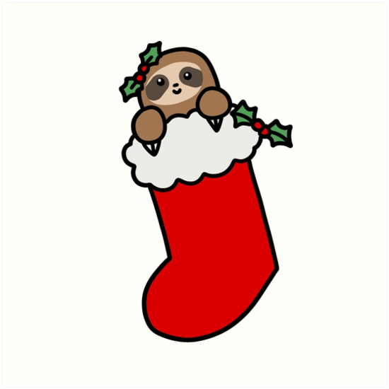 Christmas stocking art prints. Sloth clipart sloth transparent graphic transparent download