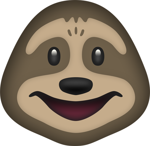 Sloth face png. Dribbble slothemoji by drew