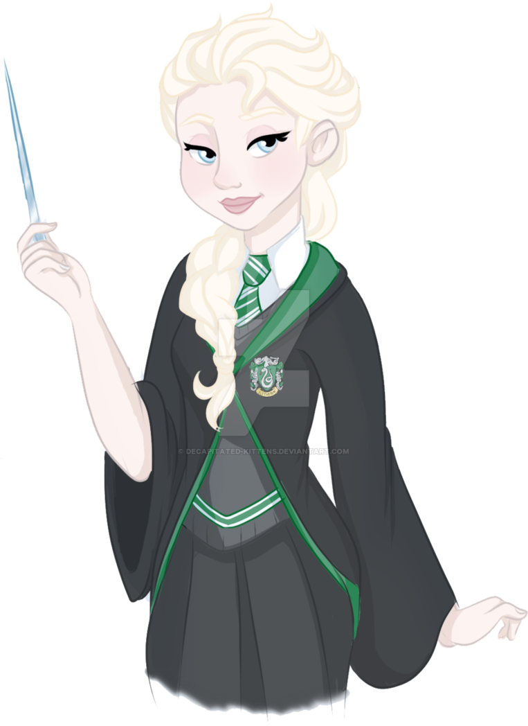 Slytherin drawing cartoon. Disney in hogwarts elsa