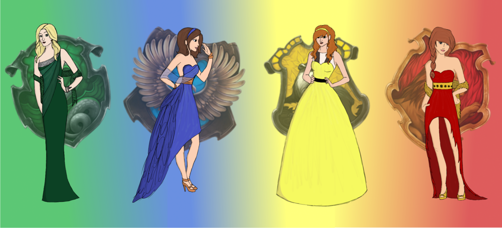 Slytherin drawing fashion. Dresses inspired by hogwarts
