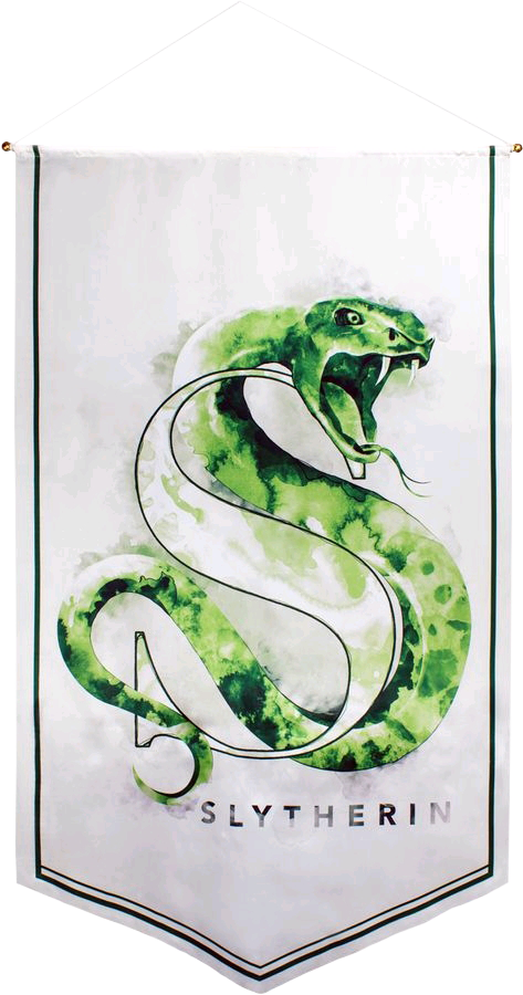 Slytherin drawing banner. Harry potter watercolour satin