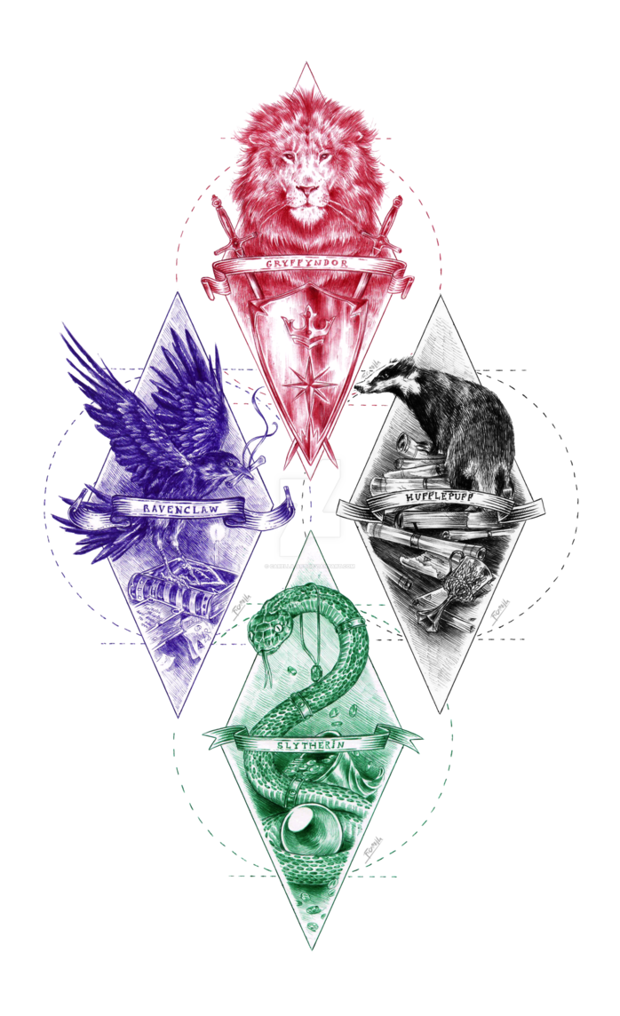 Slytherin drawing ink. Hogwarts houses by carella