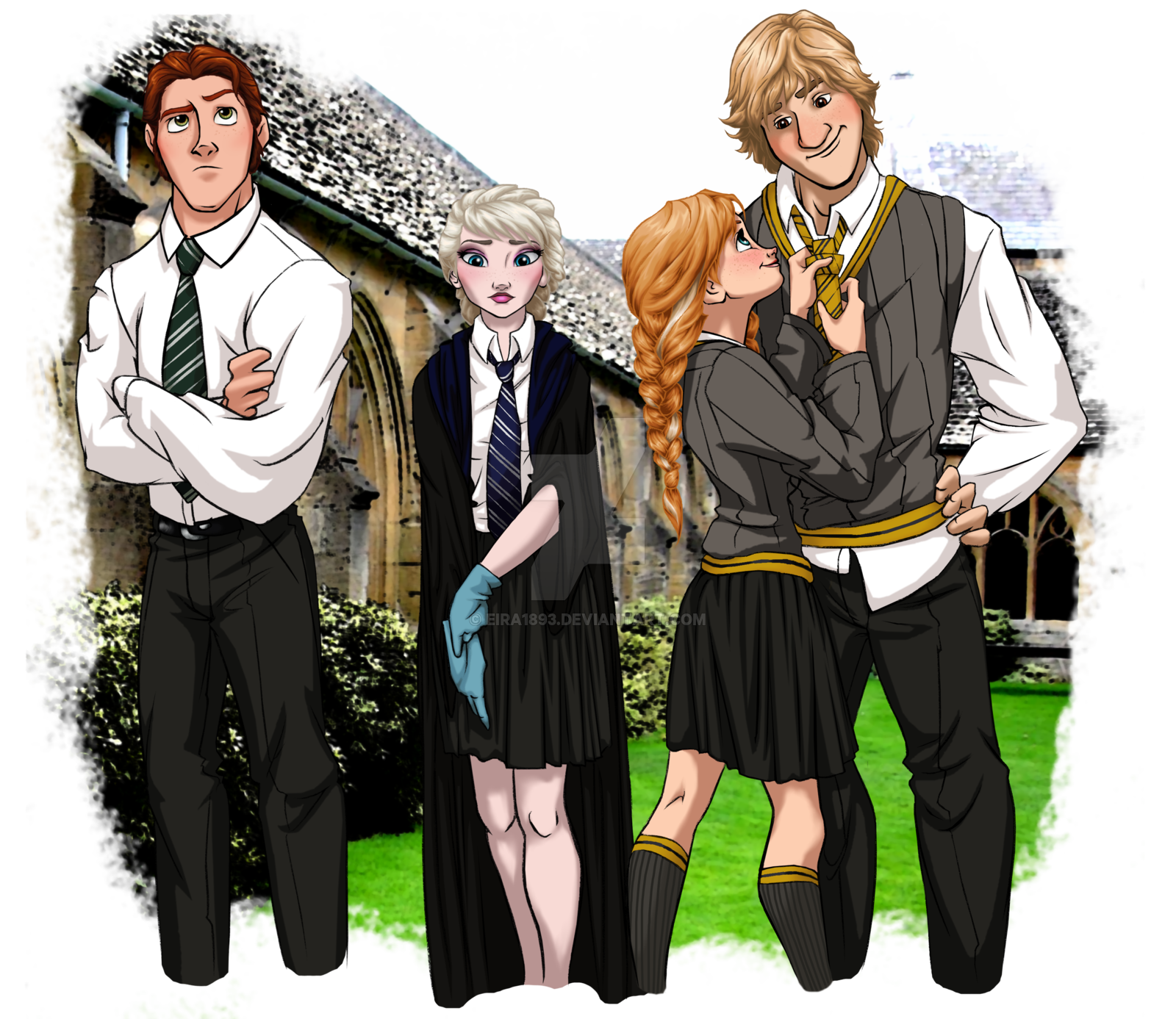 Slytherin drawing outfit. Hogwarts au by kitty