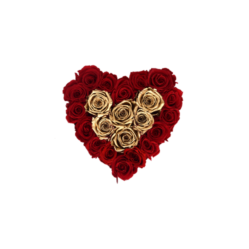 Small red heart png. Collection preserved gold roses