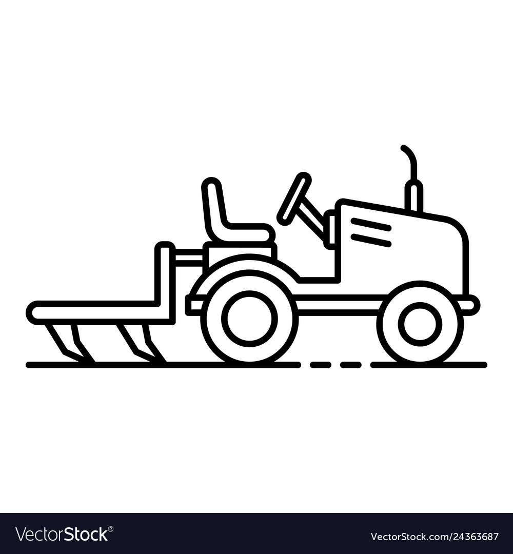 Small tractor. Plow icon outline style