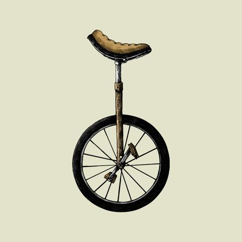 Small unicycle. Hand drawn sketch of