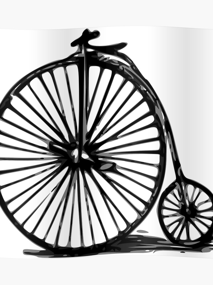 Gray velocipede. Penny farthing bicycle poster